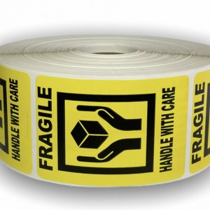 Fragile ' Hands Holding Box ' Handle with Care Labels